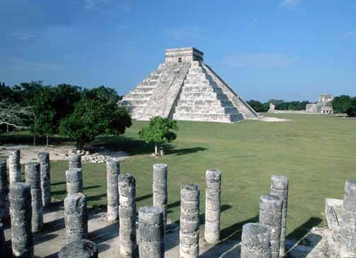 "17 Nov 1995, Chichen-Itza, Mexico --- Chichen-Itza's Pyramid of Kukulkan, seen from the Temple of the Warriors. The pyramid is often called El Castillo (""The Castle""). --- Image by © Danny Lehman/CORBIS"
